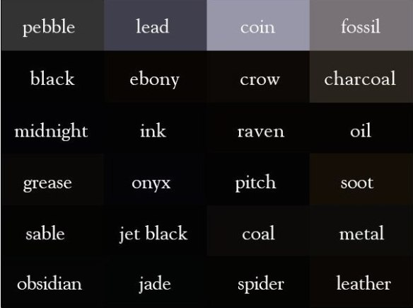 240 color names in English | Just English